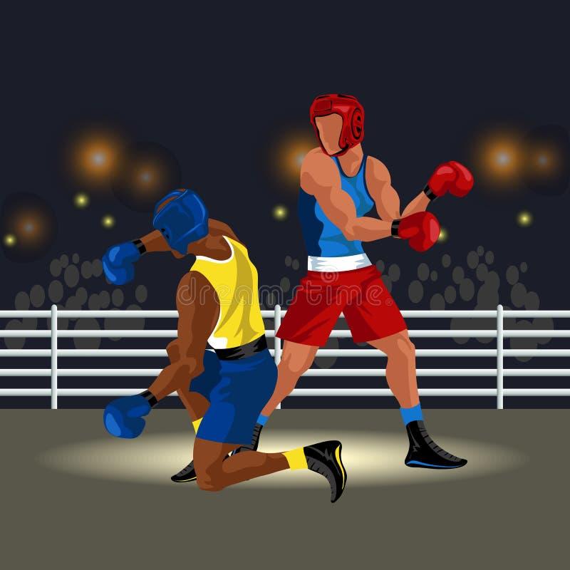 Οι μαχητές μάχονται στο δαχτυλίδι sportswear και με τον αθλητικό εξοπλισμό που έχει την εγκιβωτίζοντας αντιστοιχία με τη διανυσμα απεικόνιση αποθεμάτων