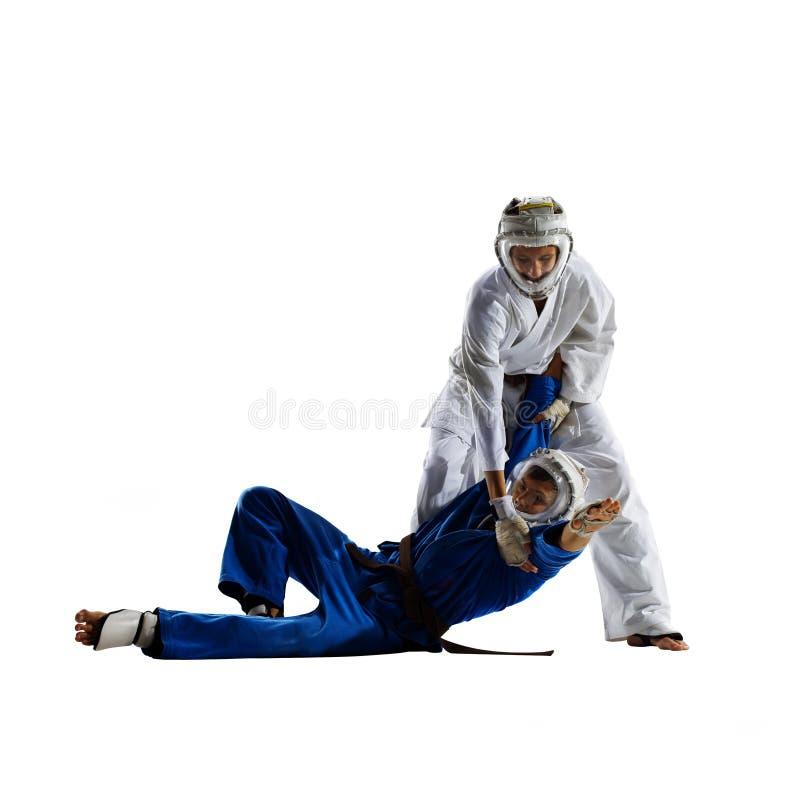 Οι μαχητές Kudo παλεύοντας απομονώνουν στοκ φωτογραφία με δικαίωμα ελεύθερης χρήσης