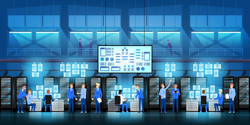 Οι μηχανικοί ΤΠ στο μεγάλο κέντρο δεδομένων εργάζονται στο κυβερνητικό πρόγραμμα νέας τεχνολογίας με τα δωμάτια και τους υπολογισ ελεύθερη απεικόνιση δικαιώματος