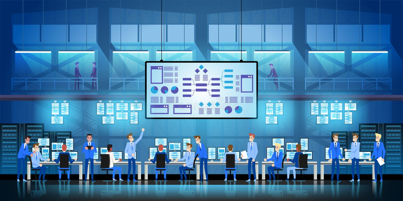 Οι μηχανικοί ΤΠ στο μεγάλο κέντρο δεδομένων εργάζονται στο κυβερνητικό πρόγραμμα νέας τεχνολογίας με τα δωμάτια και τους υπολογισ απεικόνιση αποθεμάτων