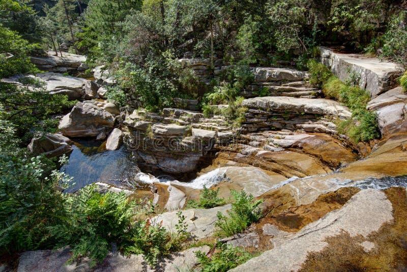 Οι μικροί καταρράκτες και οι φυσικές λίμνες Aitone στην Κορσική - τη Γαλλία στοκ φωτογραφία με δικαίωμα ελεύθερης χρήσης