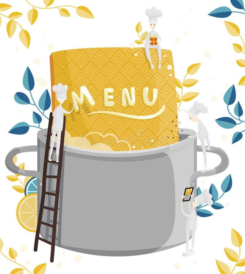 Οι μικροί μάγειρες χαρακτήρων βρίσκουν επιλογές Απεικόνιση της δημιουργίας επιλογών για ένα εστιατόριο ή έναν καφέ απεικόνιση αποθεμάτων