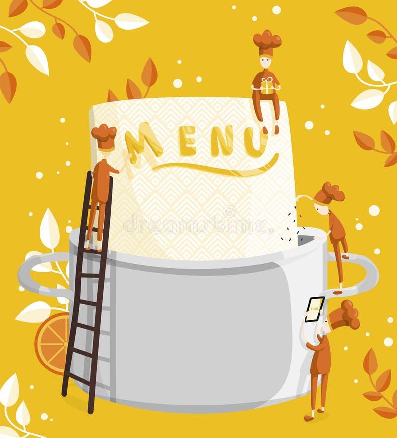 Οι μικροί μάγειρες χαρακτήρων βρίσκουν επιλογές Απεικόνιση της δημιουργίας επιλογών για ένα εστιατόριο ή έναν καφέ διανυσματική απεικόνιση