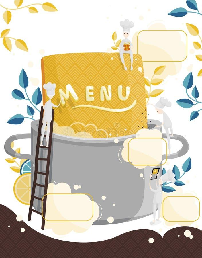 Οι μικροί μάγειρες χαρακτήρων βρίσκουν επιλογές Τομέας για το κείμενο απεικόνιση της δημιουργίας επιλογών για ένα εστιατόριο ή έν διανυσματική απεικόνιση