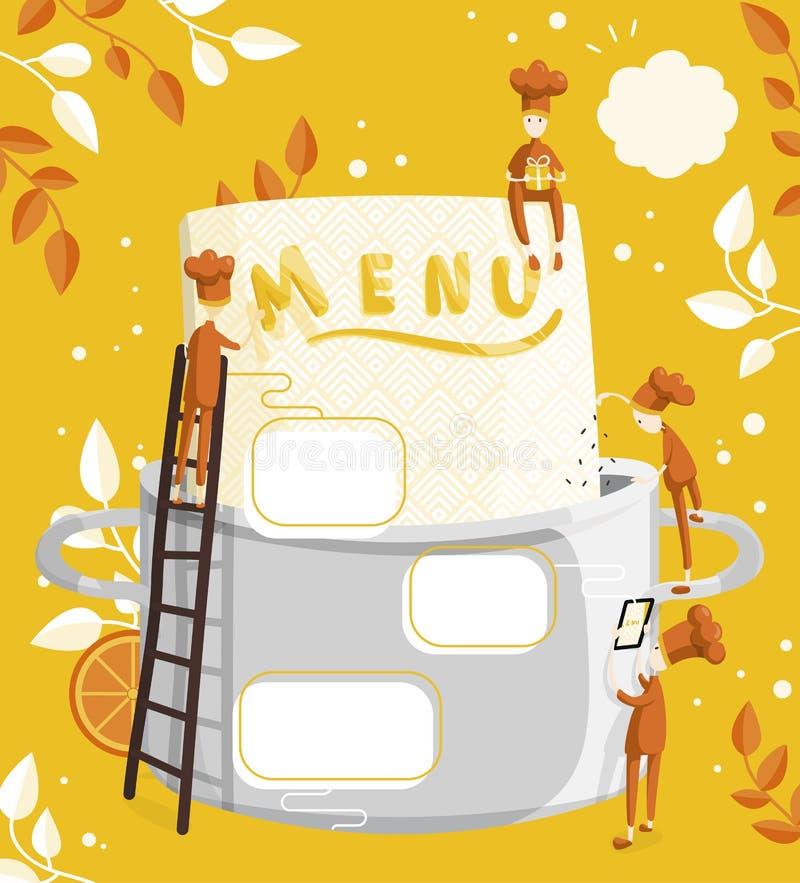 Οι μικροί μάγειρες χαρακτήρων βρίσκουν επιλογές Τομέας για το κείμενο Απεικόνιση της δημιουργίας επιλογών για ένα εστιατόριο ή έν ελεύθερη απεικόνιση δικαιώματος