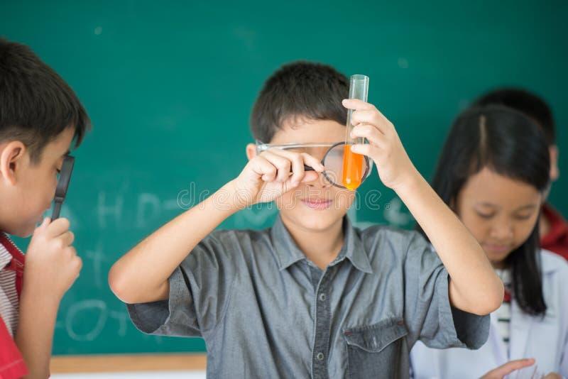 Οι μικροί σπουδαστές μελετούν την επιστήμη στην τάξη στοκ εικόνες