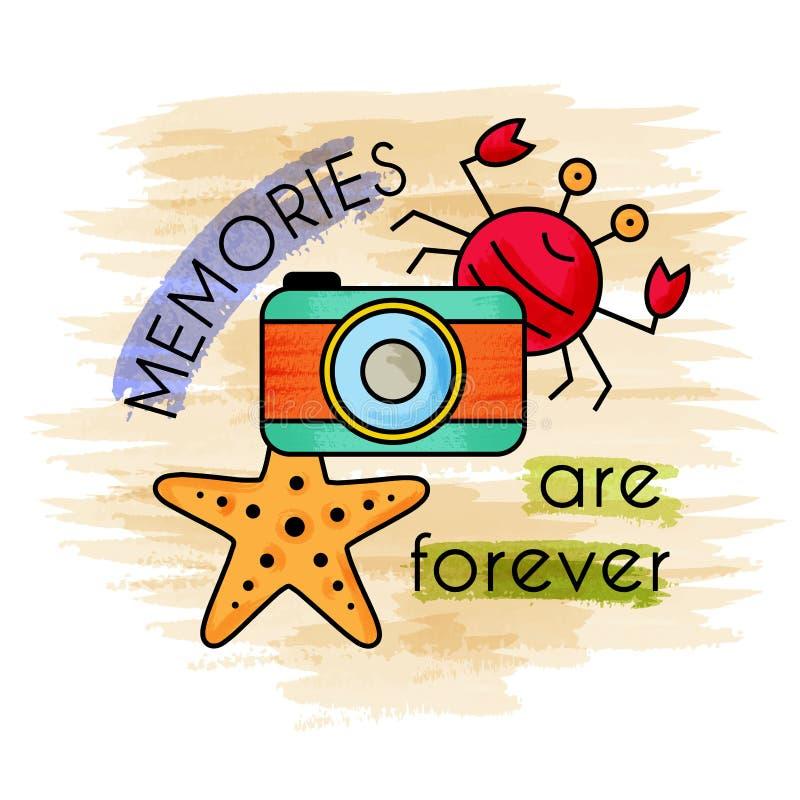Οι μνήμες είναι για πάντα Έμβλημα Watercolor απεικόνιση αποθεμάτων