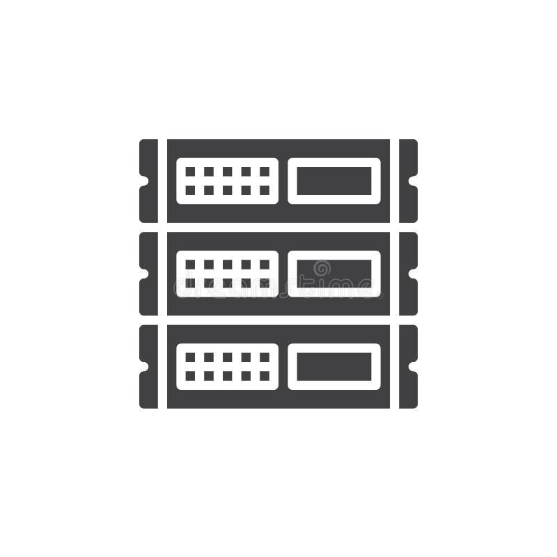 Οι μονάδες ραφιών, διάνυσμα εικονιδίων κεντρικών υπολογιστών, γέμισαν το επίπεδο σημάδι, στερεό εικονόγραμμα που απομονώθηκε στο  διανυσματική απεικόνιση
