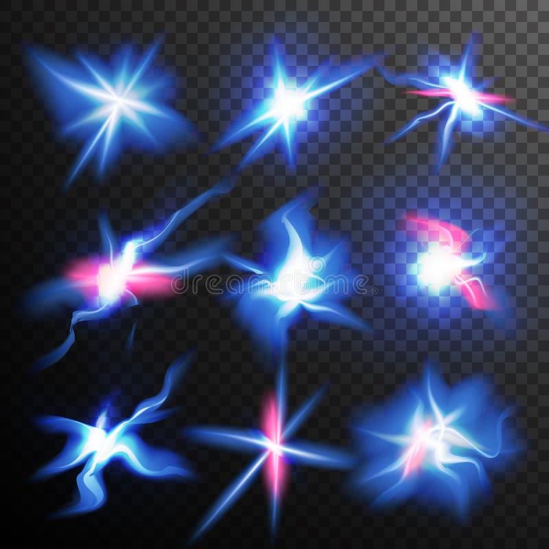 Οι μπλε εκρήξεις αστεριών καίγονται διάνυσμα ελαφριάς επίδρασης Μαγική ενέργεια ο ελαφρύς Ray λάμψης Αγαθό για τα εμβλήματα, φυλλ απεικόνιση αποθεμάτων
