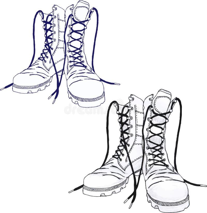 οι μπότες ανασκόπησης στρατού απομόνωσαν το λευκό διανυσματική απεικόνιση