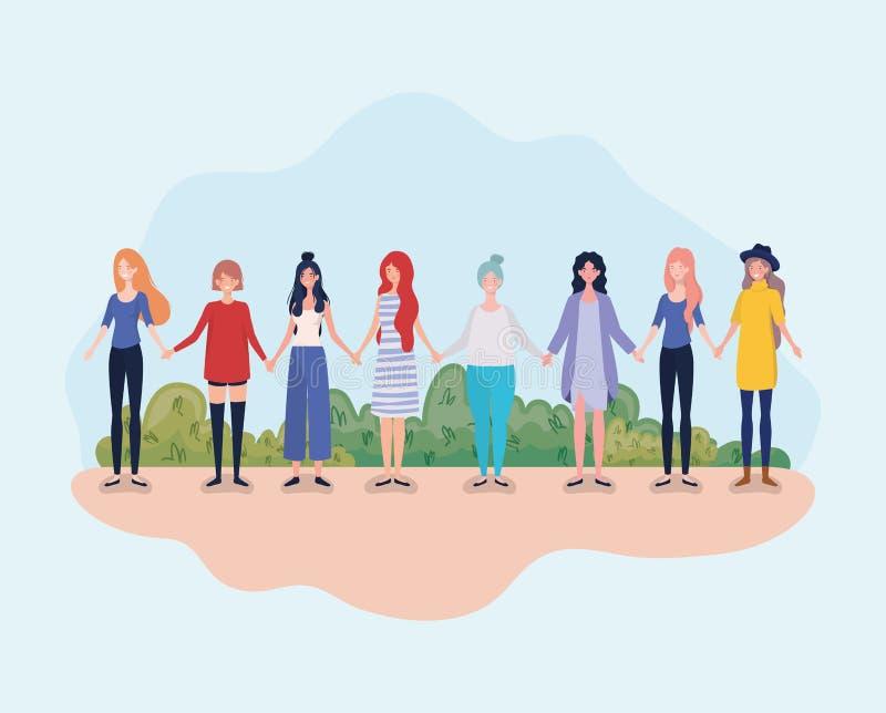 Οι νέες γυναίκες ομαδοποιούν τη στάση στο στρατόπεδο απεικόνιση αποθεμάτων