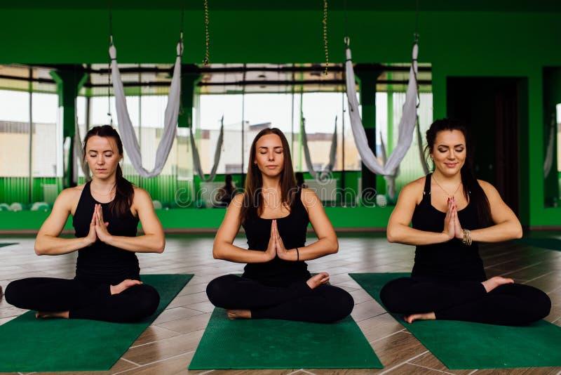 Οι νέες γυναίκες πορτρέτου τρεις φίλοι στο λωτό τοποθετούν στο χαλί μετά από τις ενάντιες στη βαρύτητα ασκήσεις γιόγκας Εναέρια μ στοκ εικόνες
