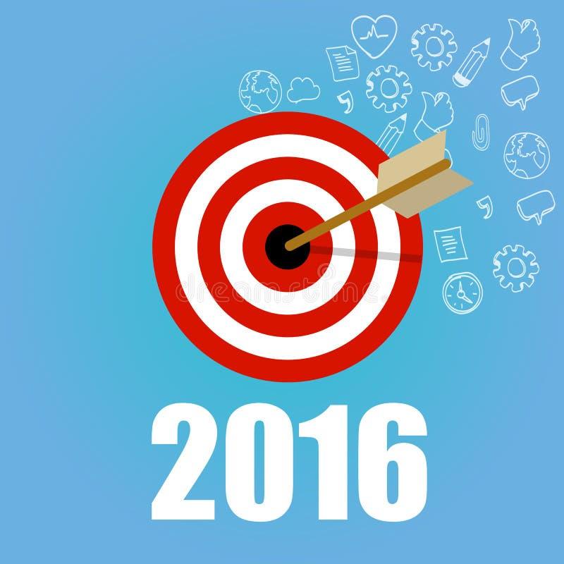 Οι νέοι στόχοι ψηφίσματος στόχων έτους ελέγχουν την επίπεδη διανυσματική γραφική έννοια απεικόνισης πινάκων μολυβιών σημαδιών ελεύθερη απεικόνιση δικαιώματος