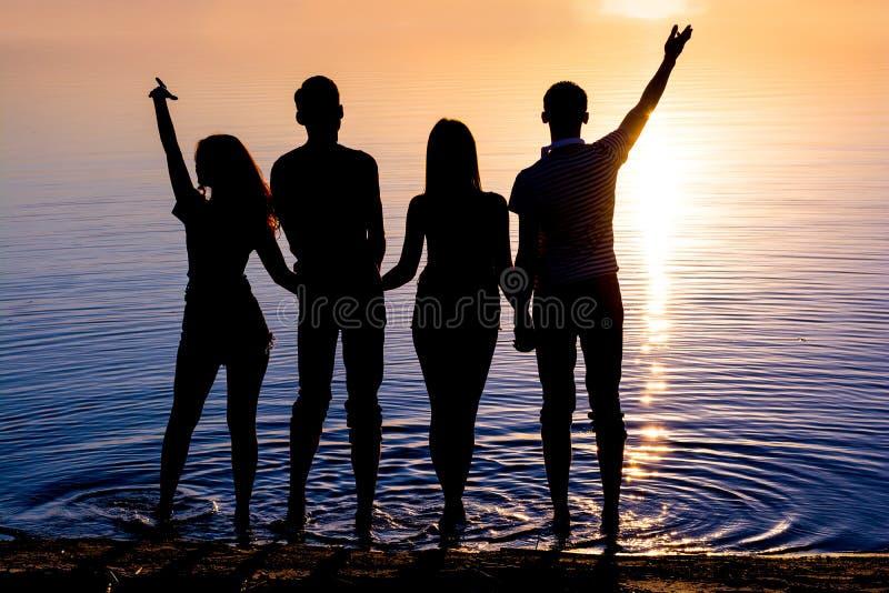 Οι νέοι, τύποι και κορίτσια, στέκονται στην παραλία και watc στοκ εικόνες με δικαίωμα ελεύθερης χρήσης