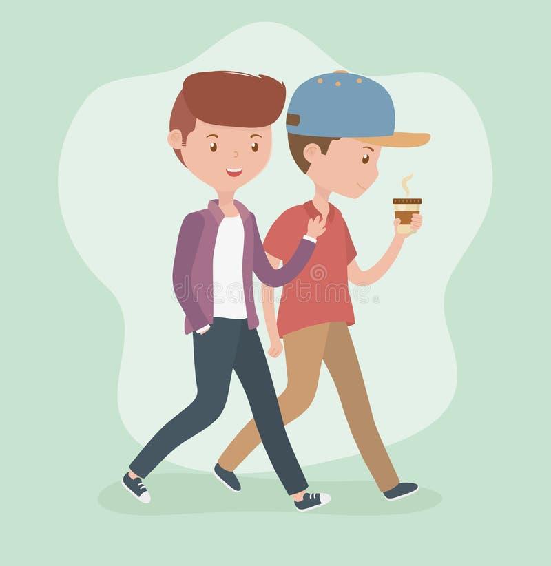 Οι νεαροί άνδρες που περπατούν με τον καφέ κοιλαίνουν τους χαρακτήρες ειδώλων ελεύθερη απεικόνιση δικαιώματος