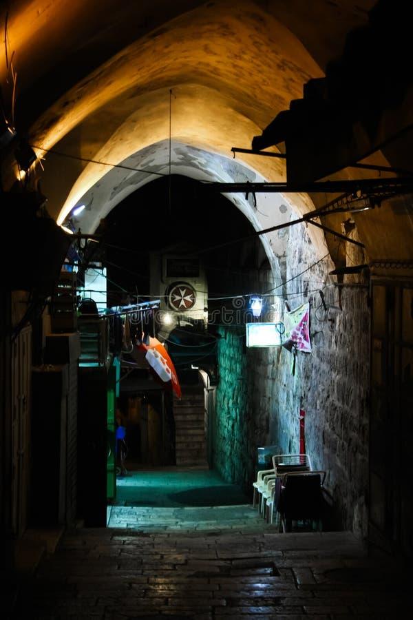 Οι οδοί της παλαιάς πόλης της Ιερουσαλήμ τη νύχτα στοκ εικόνα με δικαίωμα ελεύθερης χρήσης