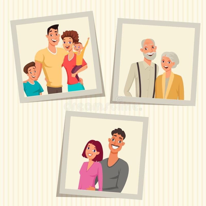 Οι οικογενειακές φωτογραφίες στα πλαίσια χρωματίζουν τη διανυσματική απεικόνιση διανυσματική απεικόνιση