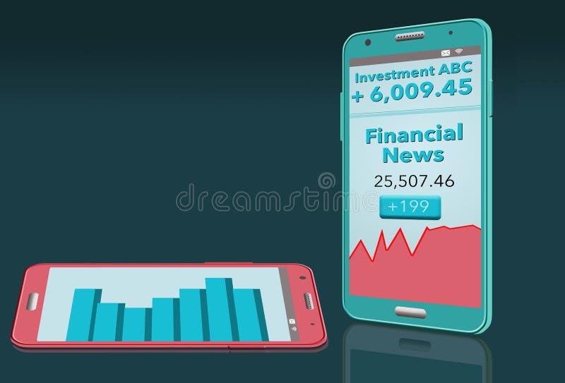 Οι οικονομικές ειδήσεις με την έκθεση χρηματιστηρίου βλέπουν στο κύτταρο δύο phon ελεύθερη απεικόνιση δικαιώματος