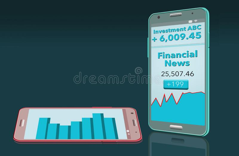 Οι οικονομικές ειδήσεις με την έκθεση χρηματιστηρίου βλέπουν στο κύτταρο δύο phon διανυσματική απεικόνιση