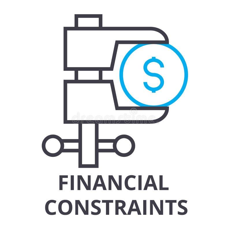 Οι οικονομικοί περιορισμοί λεπταίνουν το εικονίδιο γραμμών, σημάδι, σύμβολο, illustation, γραμμική έννοια, διάνυσμα απεικόνιση αποθεμάτων