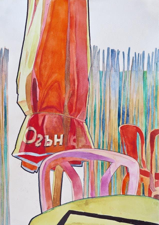 Οι ομπρέλες, οι καρέκλες και οι πίνακες σε μια καφετερία και ένα μπαμπού περιφράζουν πίσω ως υπόβαθρο στοκ εικόνες με δικαίωμα ελεύθερης χρήσης