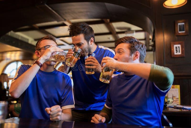 Οι οπαδοί ποδοσφαίρου ή οι φίλοι πίνουν την μπύρα στον αθλητικό φραγμό στοκ εικόνες