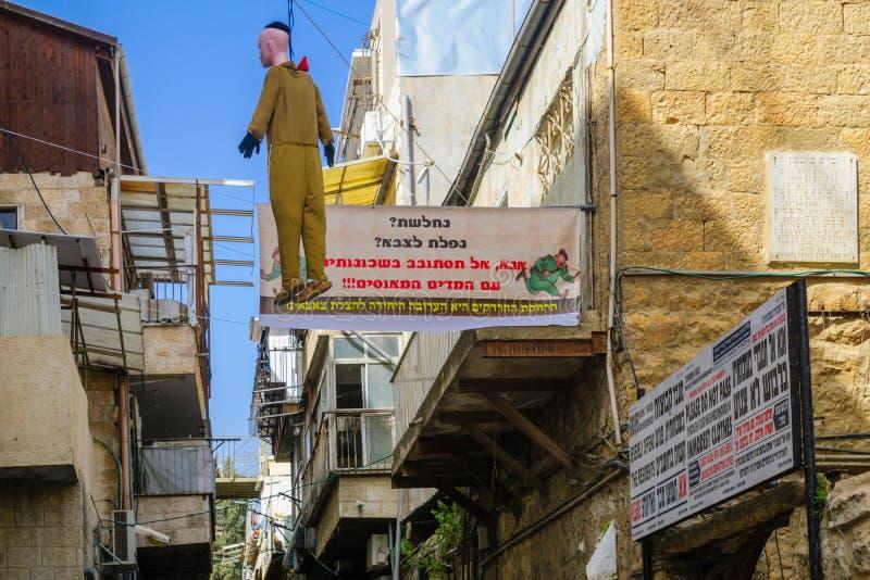 Οι ορθόδοξοι Εβραίοι διαμαρτύρονται, Ιερουσαλήμ στοκ φωτογραφία με δικαίωμα ελεύθερης χρήσης