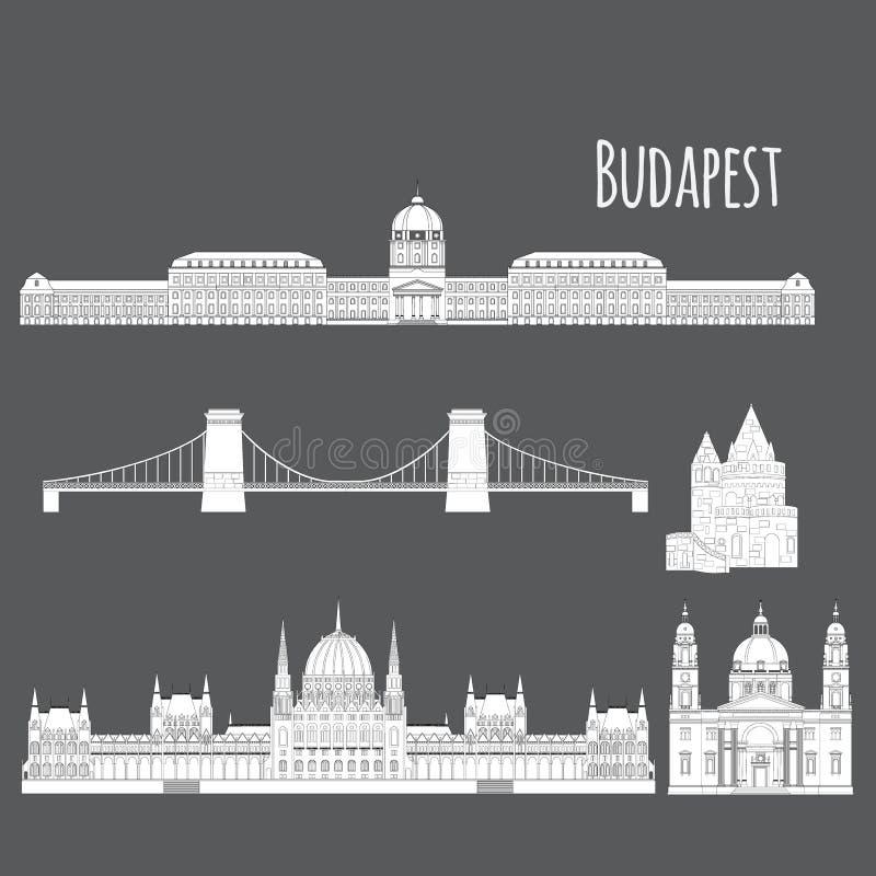 Οι ουγγρικές θέες πόλεων στο ορόσημο της Βουδαπέστης Ουγγαρία ταξιδεύουν και το κάστρο Buda στοιχείων αρχιτεκτονικής ταξιδιών, γέ διανυσματική απεικόνιση