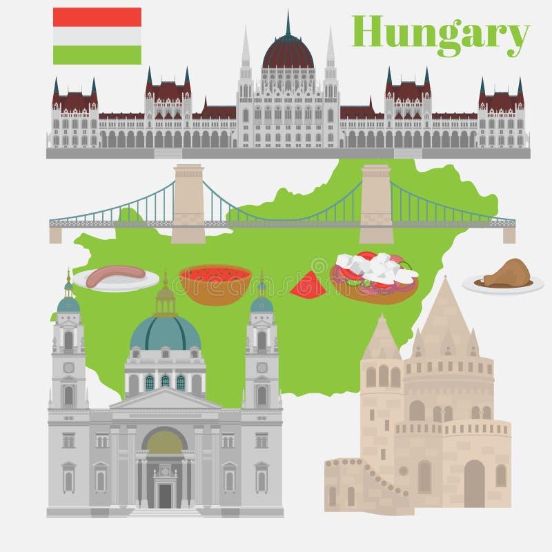Οι ουγγρικές θέες πόλεων στο ορόσημο της Βουδαπέστης Ουγγαρία ταξιδεύουν και το κάστρο Buda στοιχείων αρχιτεκτονικής ταξιδιών, γέ απεικόνιση αποθεμάτων