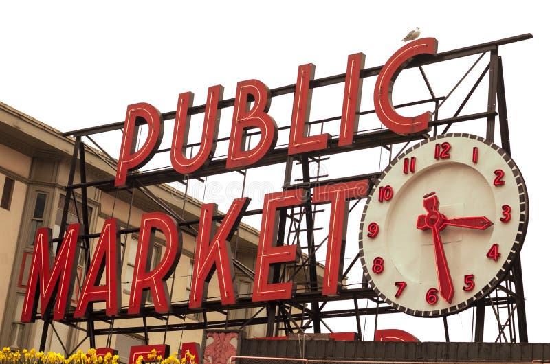 Οι λούτσοι τοποθετούν το σημάδι δημόσιας αγοράς στοκ εικόνα