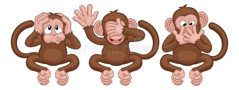 Οι πίθηκοι βλέπουν ακούνε δεν μιλούν κανέναν κακό χαρακτήρα κινουμένων σχεδίων διανυσματική απεικόνιση