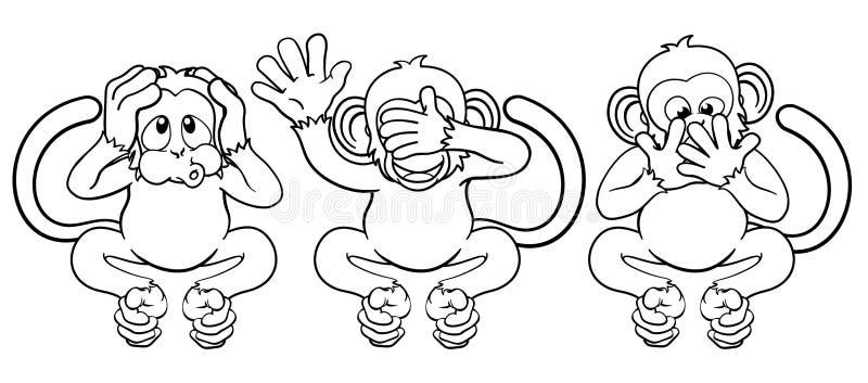 Οι πίθηκοι βλέπουν ακούνε δεν μιλούν κανέναν κακό χαρακτήρα κινουμένων σχεδίων ελεύθερη απεικόνιση δικαιώματος