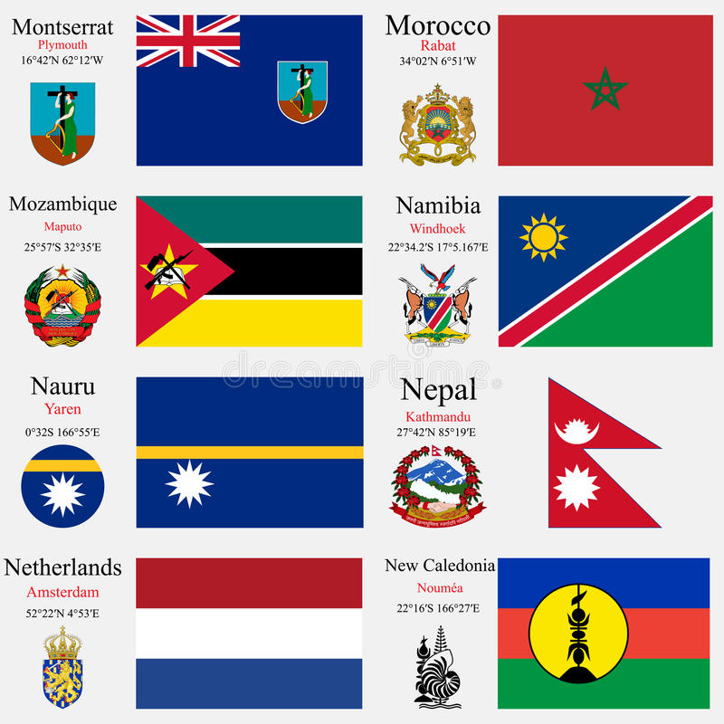 Οι παγκόσμια σημαίες και τα κεφάλαια θέτουν 16 διανυσματική απεικόνιση