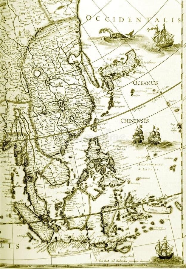 οι παλαιές χώρες της Ασίας χαρτογραφούν το παλαιό νοτιοανατολικό σημείο στοκ φωτογραφίες με δικαίωμα ελεύθερης χρήσης