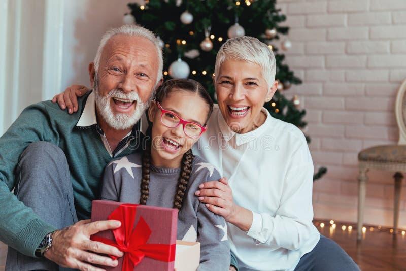 Οι παππούδες και γιαγιάδες και η εγγονή τους σύλλεξαν γύρω από ένα χριστουγεννιάτικο δέντρο, χαμόγελο στοκ εικόνα με δικαίωμα ελεύθερης χρήσης