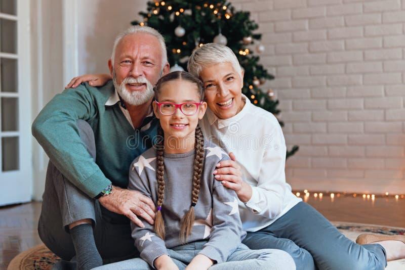 Οι παππούδες και γιαγιάδες και η εγγονή τους σύλλεξαν γύρω από ένα χριστουγεννιάτικο δέντρο, χαμόγελο στοκ φωτογραφία με δικαίωμα ελεύθερης χρήσης
