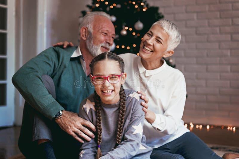 Οι παππούδες και γιαγιάδες και η εγγονή τους σύλλεξαν γύρω από ένα χριστουγεννιάτικο δέντρο, χαμόγελο στοκ φωτογραφίες με δικαίωμα ελεύθερης χρήσης