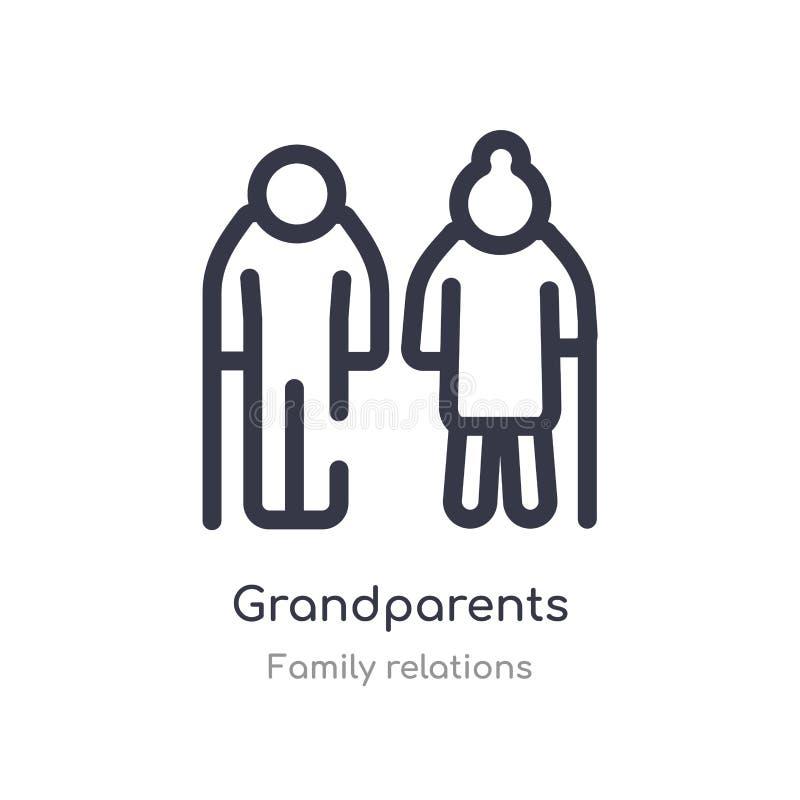 οι παππούδες και γιαγιάδες περιγράφουν το εικονίδιο απομονωμένη διανυσματική απεικόνιση γραμμών από τη συλλογή οικογενειακών σχέσ απεικόνιση αποθεμάτων