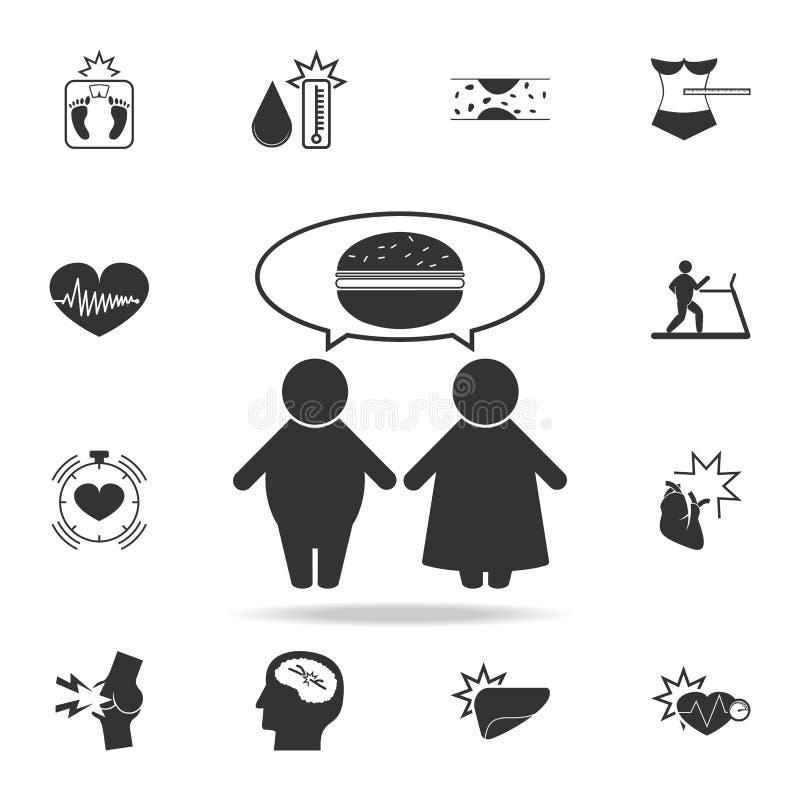 οι παχιοί άνθρωποι σκέφτονται για το εικονίδιο τροφίμων Λεπτομερές σύνολο εικονιδίων παχυσαρκίας Γραφικό σχέδιο ασφαλίστρου Ένα α απεικόνιση αποθεμάτων