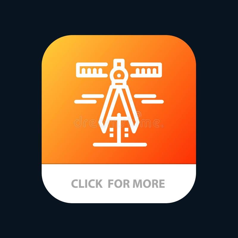 Οι παχυμετρικοί διαβήτες, γεωμετρία, εργαλεία, μετρούν το κινητό App κουμπί Έκδοση αρρενωπών και IOS γραμμών διανυσματική απεικόνιση
