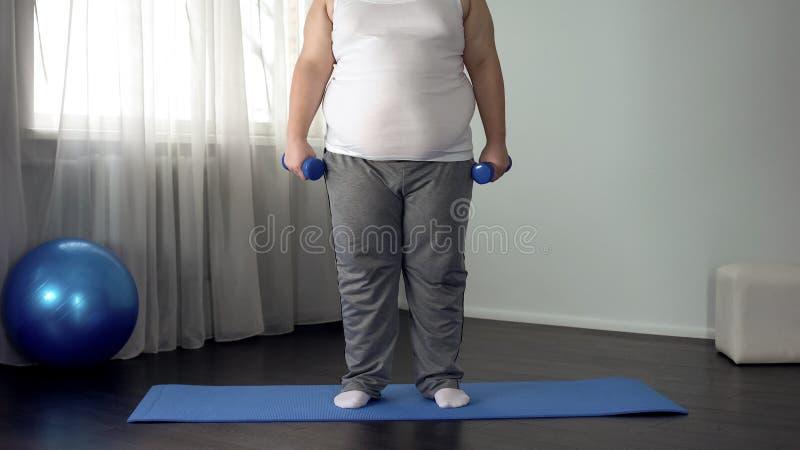 Οι παχύσαρκοι ανυψωτικοί αλτήρες ατόμων στο χαλί στο σπίτι, επιθυμούν να χάσουν το βάρος, ικανότητα στοκ εικόνα