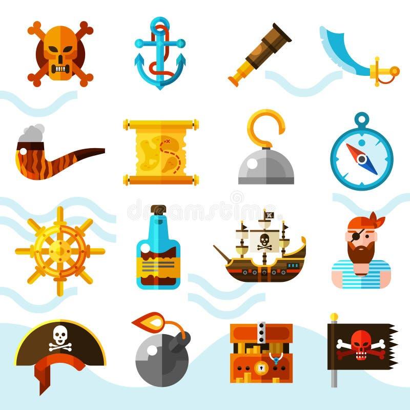Οι πειρατές χρωματίζουν τα εικονίδια καθορισμένα διανυσματική απεικόνιση