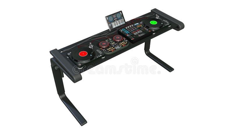 Οι περιστροφικές πλάκες του DJ στέκονται με τους υγιείς αναμίκτες και τον ακουστικό εξοπλισμό καταγραφής, jockey δίσκων όργανα μο απεικόνιση αποθεμάτων