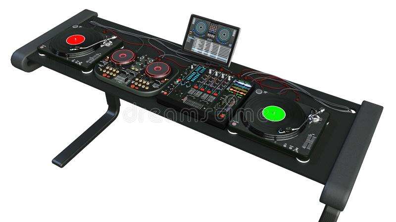 Οι περιστροφικές πλάκες του DJ στέκονται, υγιείς αναμίκτες και ακουστικός εξοπλισμός καταγραφής, jockey δίσκων όργανα μουσικής πο στοκ εικόνα