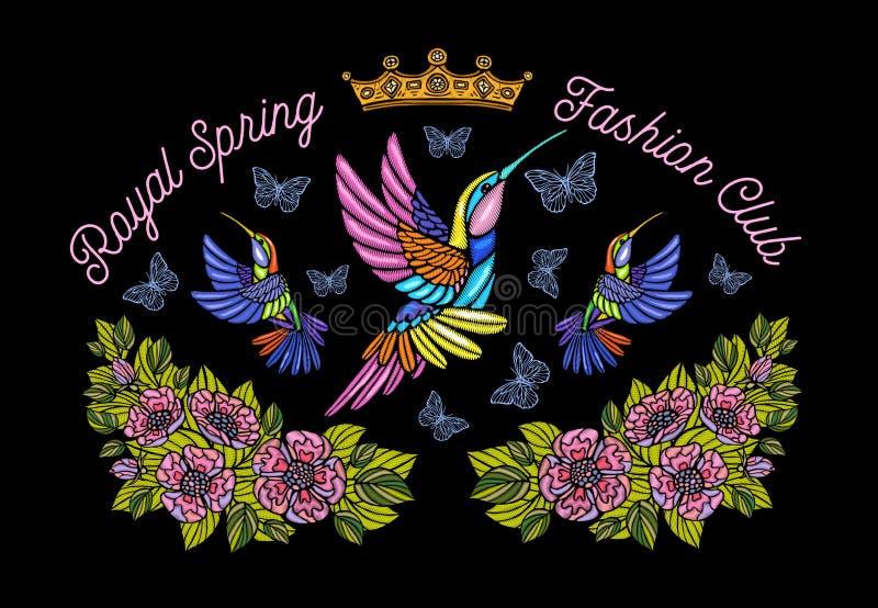 Οι πεταλούδες κολιβρίων στέφουν το μπάλωμα κεντητικής λουλουδιών τη βασιλική SP ελεύθερη απεικόνιση δικαιώματος