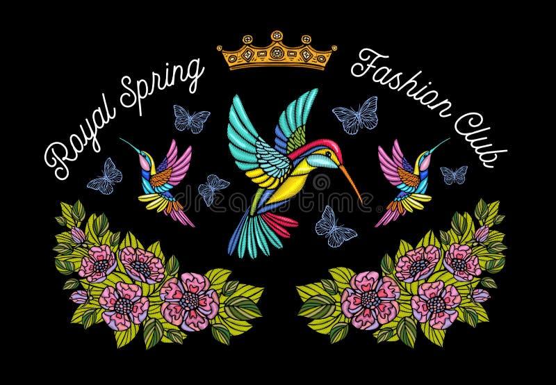 Οι πεταλούδες κολιβρίων στέφουν το μπάλωμα κεντητικής λουλουδιών humming ελεύθερη απεικόνιση δικαιώματος