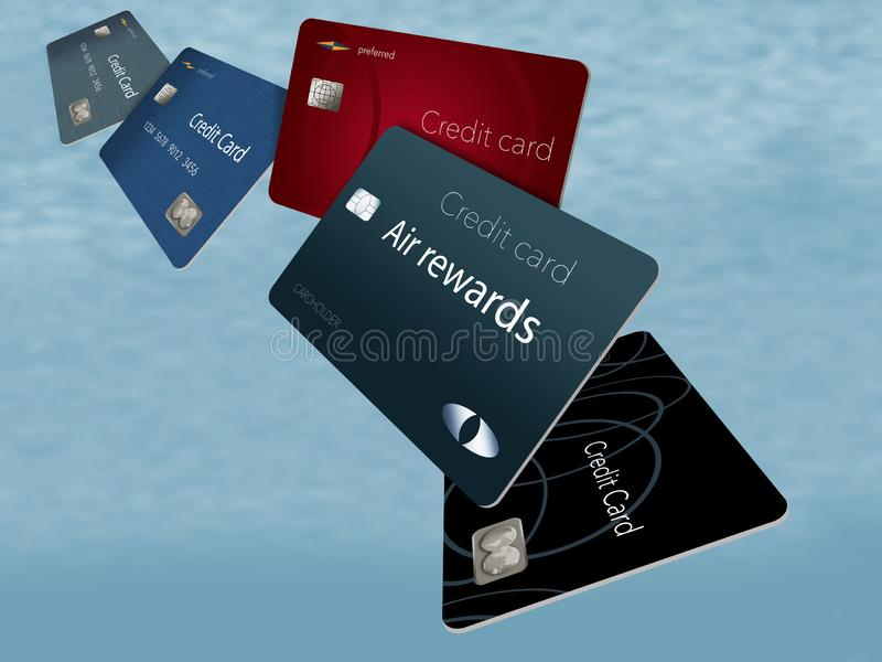 Οι πιστωτικές κάρτες ανταμοιβών αέρα βλέπουν εδώ να επιπλεύσουν και να πετάξουν στο θόριο διανυσματική απεικόνιση