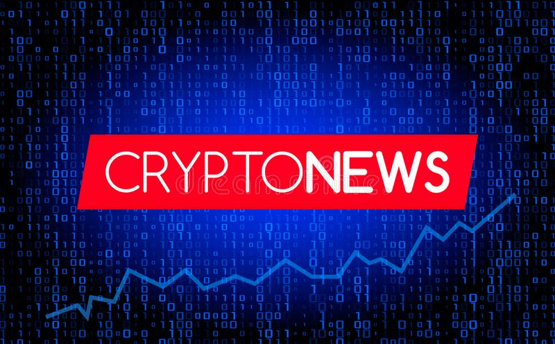 Οι πιό πρόσφατες ειδήσεις των ειδήσεων Cryptocurrency ενάντια στο σκηνικό ενός ρεύματος της δυαδικής μήτρας κωδικοποιούν στην οθό διανυσματική απεικόνιση