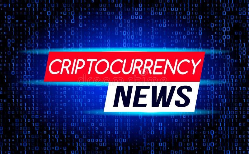 Οι πιό πρόσφατες ειδήσεις των ειδήσεων Cryptocurrency ενάντια στο σκηνικό ενός ρεύματος της δυαδικής μήτρας κωδικοποιούν στην οθό απεικόνιση αποθεμάτων