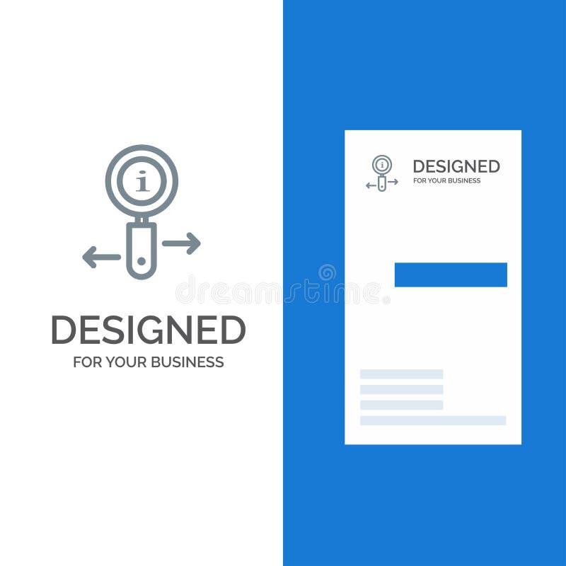 Οι πληροφορίες, πληροφορίες, ζουμ, ψάχνουν το γκρίζο σχέδιο λογότυπων και το πρότυπο επαγγελματικών καρτών ελεύθερη απεικόνιση δικαιώματος